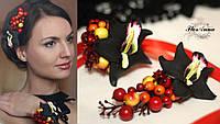 """""""Чёрные орхидеи с ягодами""""(заколка+браслет) , фото 1"""