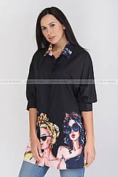 Стильная  женская удлиненная рубашка, с красивым принтом , черный