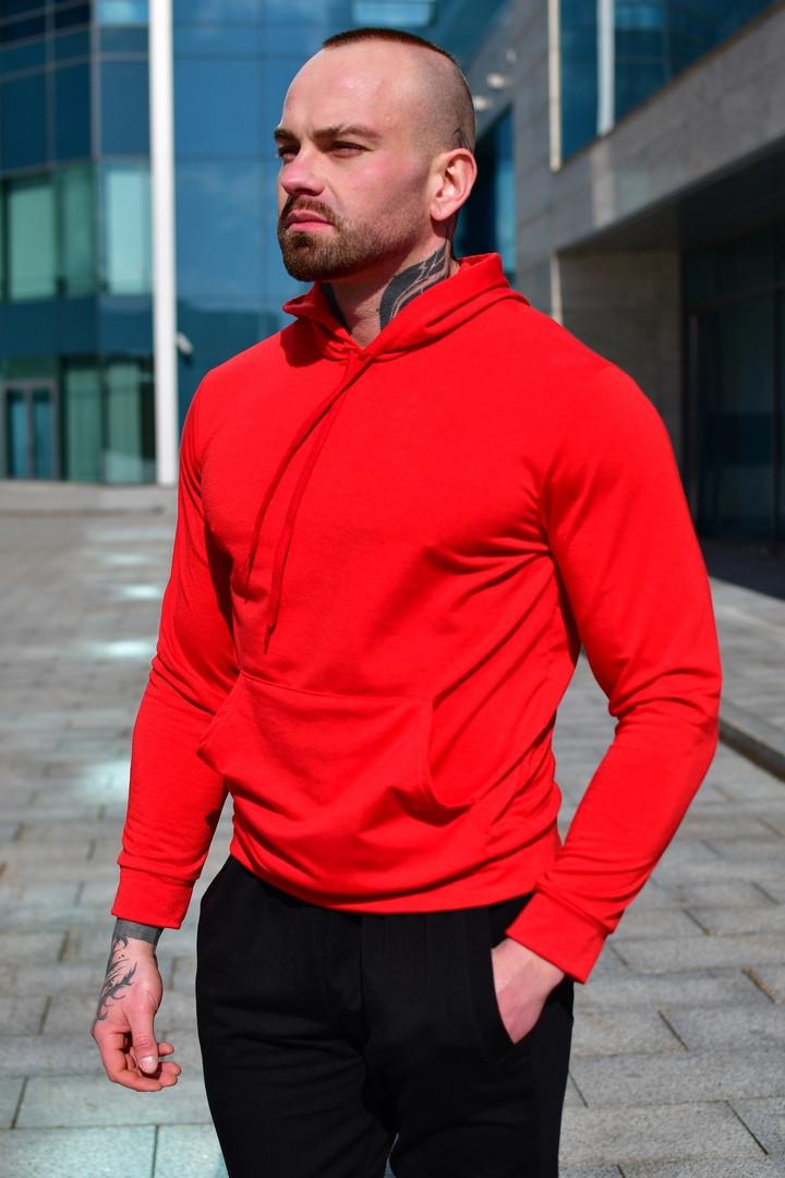 Чоловіче весняні худі червоне однотонне бавовняне, толстовка з капюшоном, стильна кофта