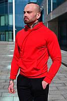 Чоловіче весняні худі червоне однотонне бавовняне, толстовка з капюшоном, стильна кофта, фото 1
