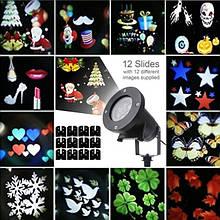 Влагозащищенный лазер стробоскоп гирлянда  с фигурами 12 тем картинок слайдов Хэллоуин НГ Star Shower