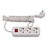 Мережевий подовжувач Luxel 3 розетки 5М з заземленням та вимикачем (7235)