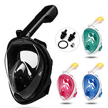 Полнолицевая панорамная маска для плавания RoundTech (S/M/L/XL) с креплением для камеры