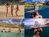 Полнолицевая панорамная маска для плавания RoundTech (S/M/L/XL) с креплением для камеры, фото 3