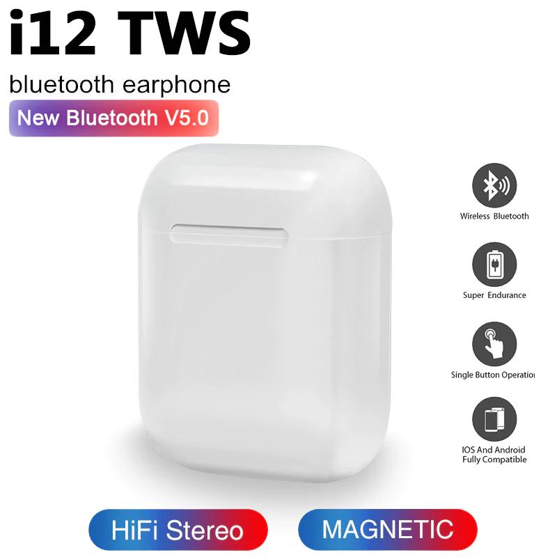 Беспроводные сенсорные наушники c боксом iFans i12 TWS белые