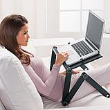Столик для ноутбука с охлаждением Laptop Table T8 трансформер, фото 10