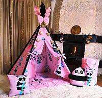 Вигвам  Pіnk panda + корзина для игрушек Полный комплект !, фото 1