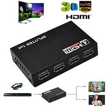 Сплиттер разветвитель 1x4 порта HDMI splitter v1,4 1080P 4K 3D
