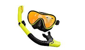 Набор для снорклинга (маска + трубка) Черно-желтый