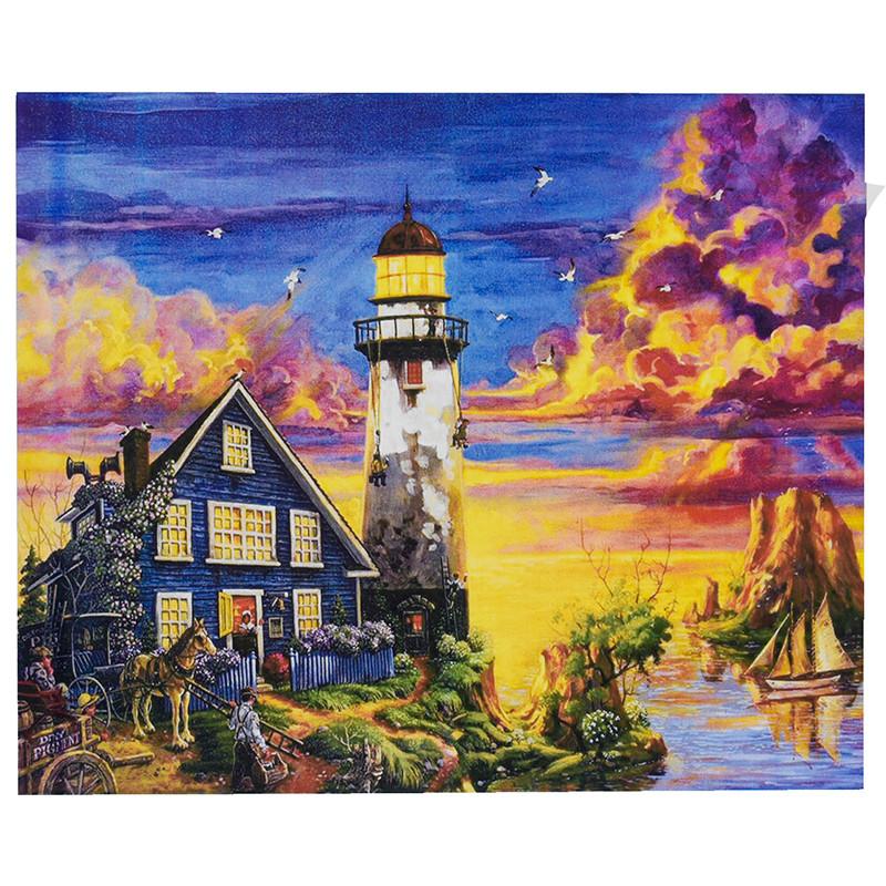 """Картина по номерам """"Маяк на закате"""" RA 3475, 50 - 40 см"""