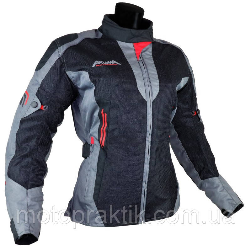 AKUMA SUMMER WOMEN TEXJACKET 1.0 BLACK/ANTHRACITE/RED, S Мотокуртка женская текстильная летняя с защитой