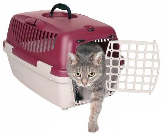 Контейнер для перевозки животных с пластиковой дверью КРАСНЫЙ Capri I & II Trixie
