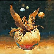 КНО9542 Завоевательница космоса с красками металлик. Идейка. Набор для рисования картины по номерам