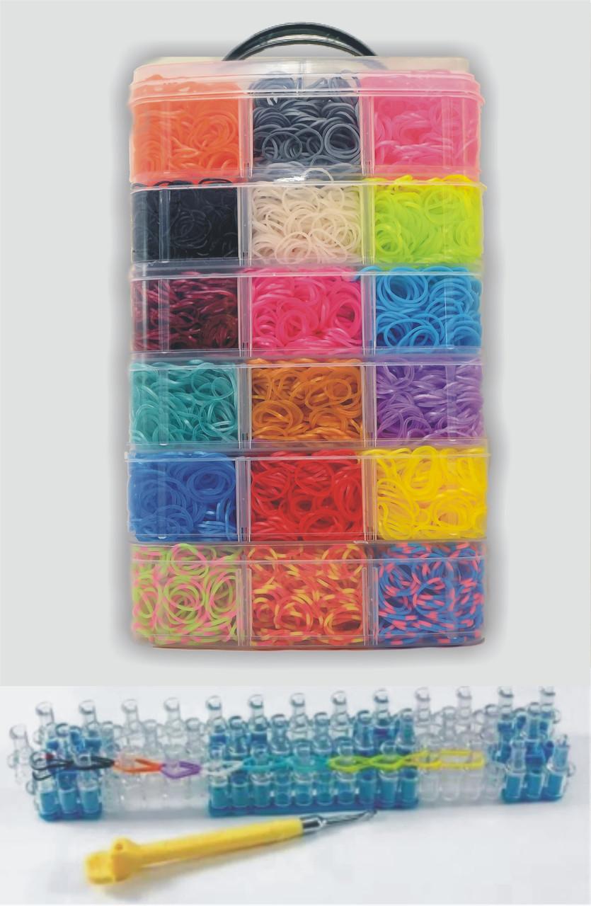 Набір резинок для плетіння браслетів 16000 гумок 6 ярусів з професійним верстатом