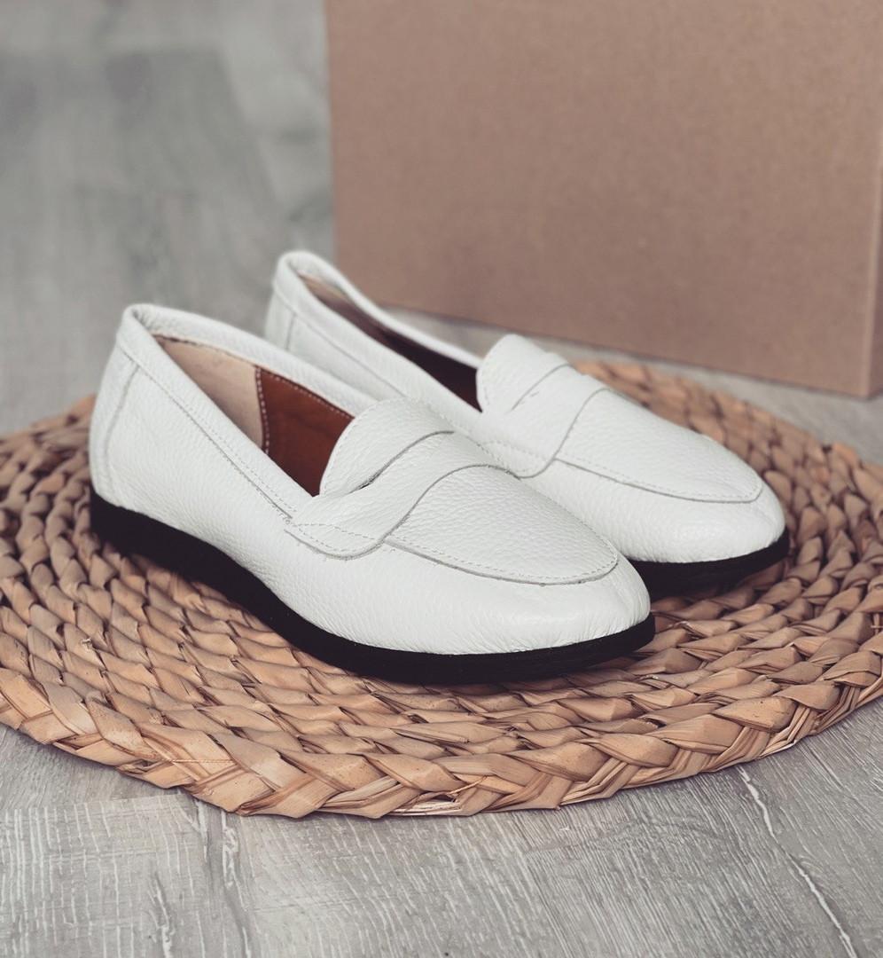 Белые кожаные мокасины 3306 (ПП)