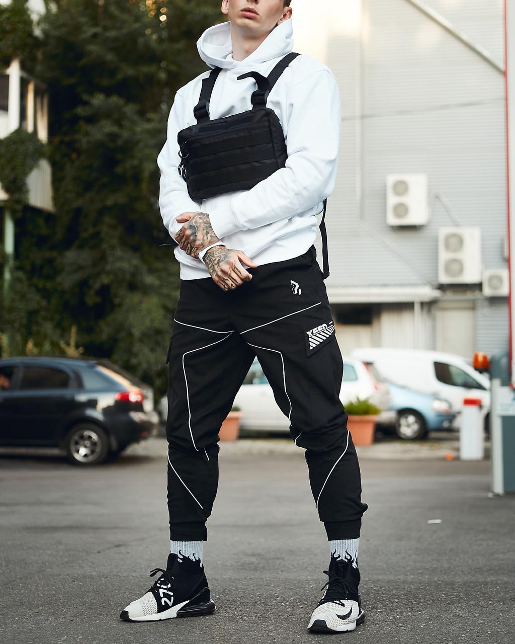 Мужские брюки-карго Пушка Огонь Xeed XXL модные молодежные черные штаны cargo весна подростковые брюки карго