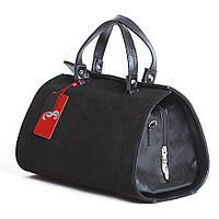 Замшевая черная сумка женская цилиндрической формы