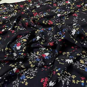 Ткань супер софт принт цветы на черном