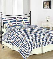 Полуторное постельное белье Gold хлопок - кораблики