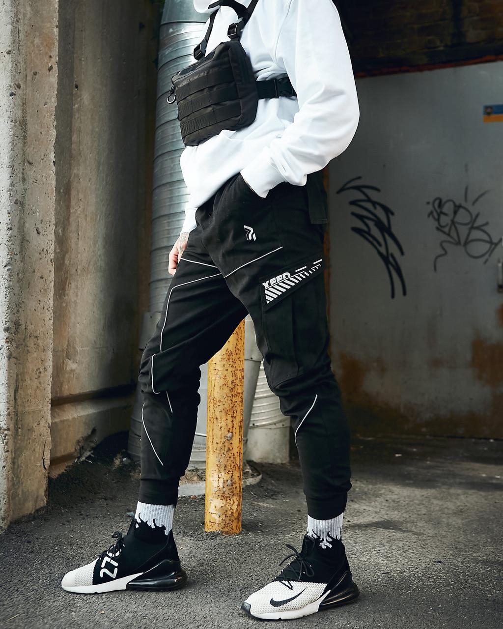 Чоловічі штани-карго Пушка Вогонь Xeed L молодіжні чорні штани cargo весна літо підліткові брюки карго casual