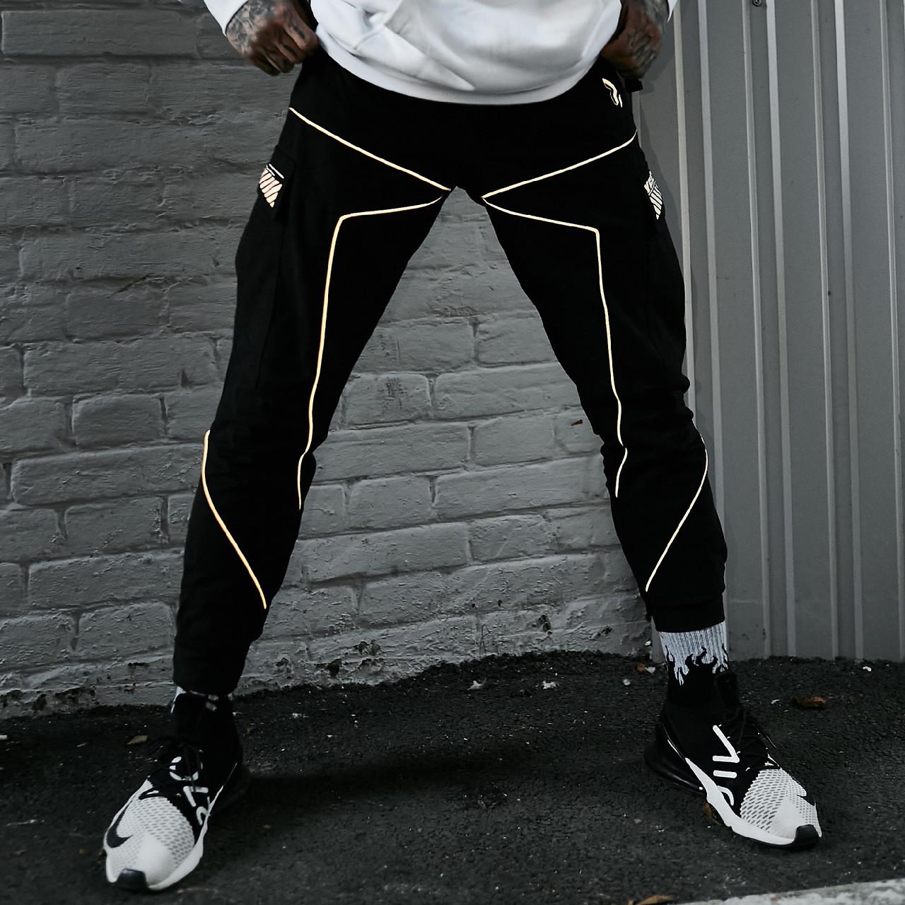 Мужские брюки-карго Пушка Огонь Xeed M модные молодежные черные штаны cargo весна подростковые брюки карго