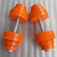 Гантелі набірні металеві з подвійним покриттям 2 по 32 кг фарба+лак (загальна вага 64 кг) розбірні складальні, фото 1