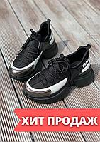 Кроссовки женские черные из кожи. Демисезонные женские кожаные черные кроссовки на высокой подошве. Разм 36-40