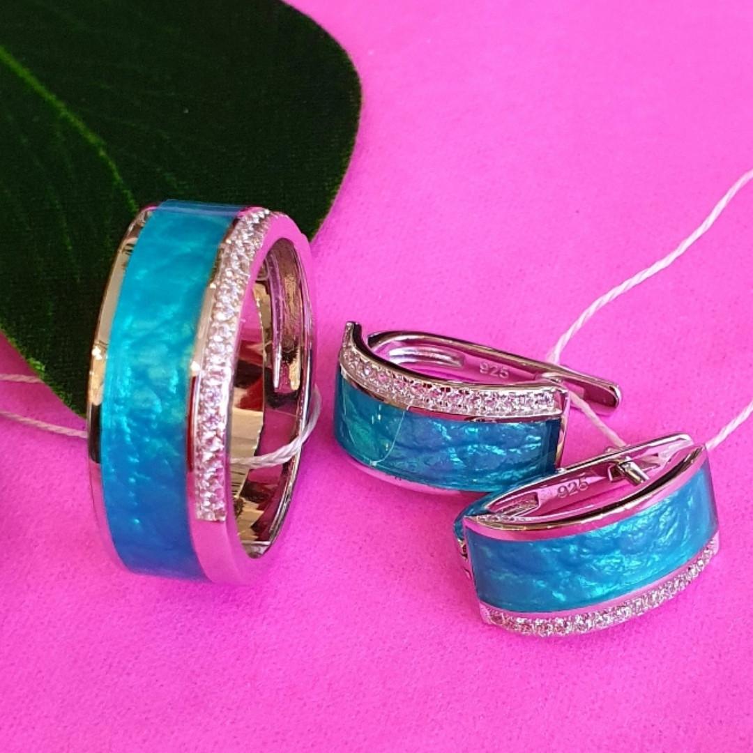 Серебряный комплект с бирюзовой эмалью - Серебряные серьги с эмалью - Кольцо с эмалью серебро