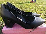 Только 36 р!!! Туфли женские черные эко кожа на каблуке 7,5 см, фото 2