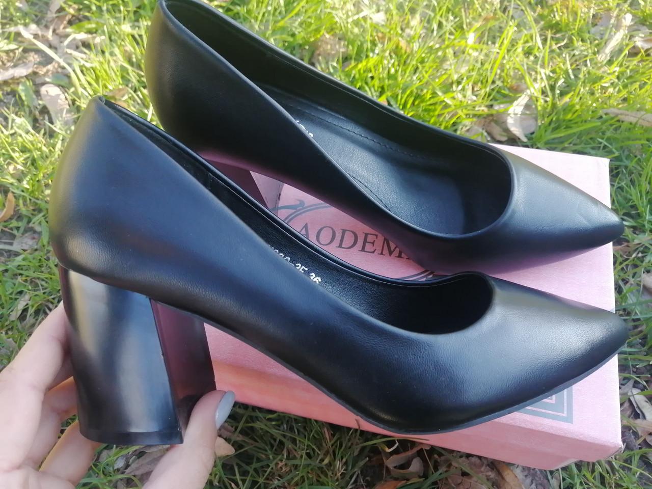 Только 36 р!!! Туфли женские черные эко кожа на каблуке 7,5 см