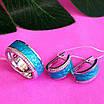 Срібний комплект з бірюзовою емаллю - Срібні сережки з емаллю - Кільце з емаллю срібло, фото 6