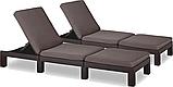 Комплект шезлонгов Allibert by Keter Daytona Brown ( коричневый ) 2 шт с мягкими подушками, фото 8