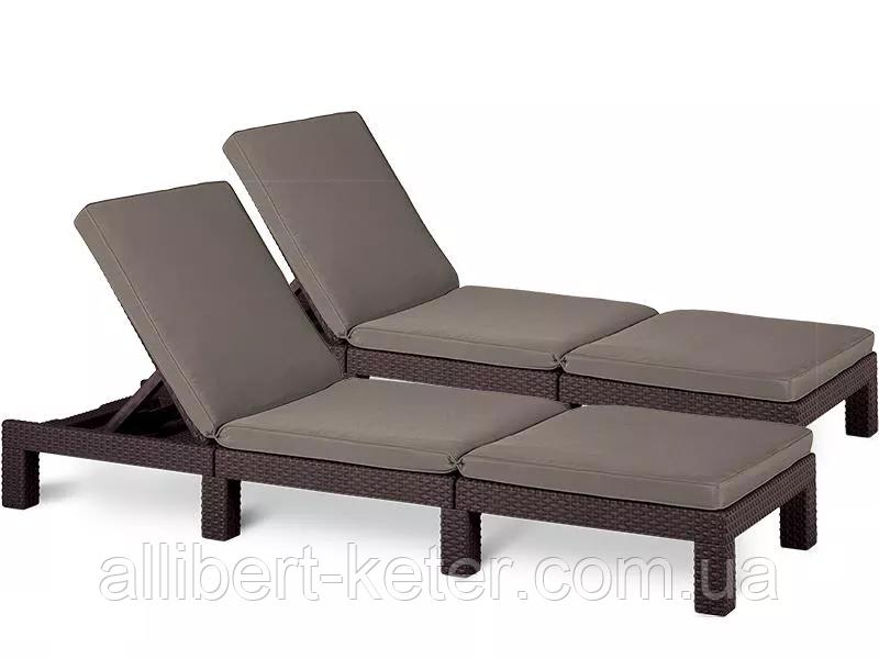 Комплект шезлонгов Allibert by Keter Daytona Brown ( коричневый ) 2 шт с мягкими подушками
