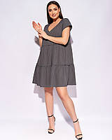 Прекрасное свободное летнее повседневное платье большие размеры, красивая повседневная батальная одежда