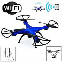 Профессиональный Квадрокоптер c Камерой WiFi на радиоуправлении летающий радиоуправляемый дрон Синий, фото 1