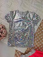 Детская блестящая футболка голограмма для девочки р 110-140