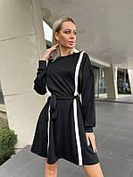 Платье креп-дайвинг женское ЧЁРНОЕ (ПОШТУЧНО), фото 1