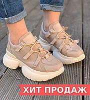 Кроссовки женские бежевые из кожи. Демисезонные женские кожаные бежевые кроссовки на высокой подошве. 36-40.