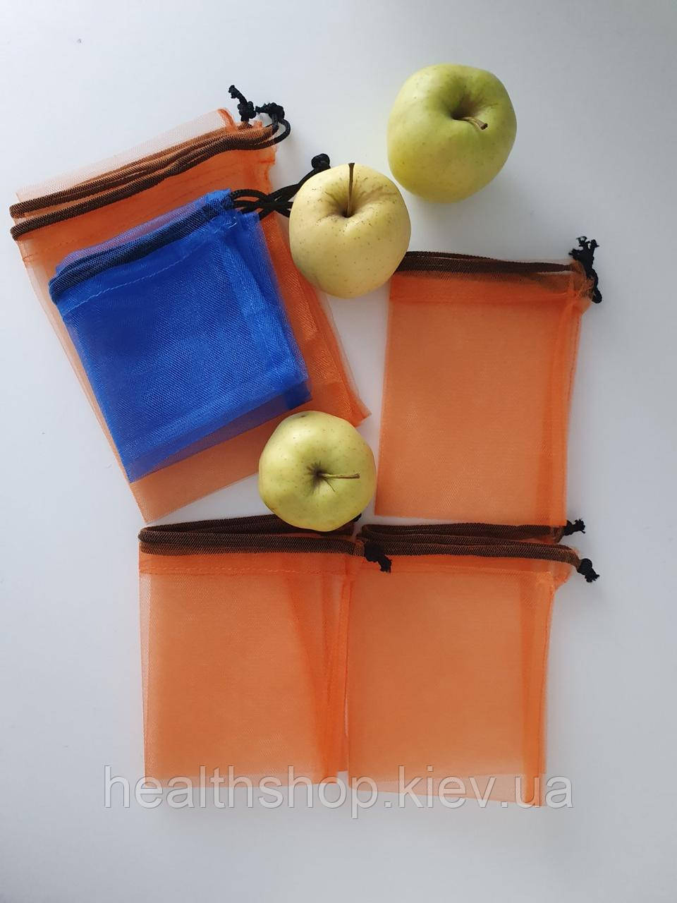 Багаторазові мішечки для продуктів, овочів і фруктів, еко мішечки, фруктовки (5 шт)