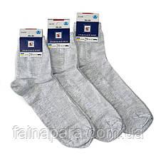 Летние мужские носки из льна с сеточкой светло-серые