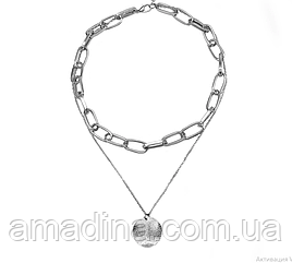 Двойная цепочка с подвеской кулоном серебро, чокер женский металл