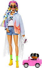 Барби Экстра Стильная Модница с косичками в джинсовой куртке GRN29