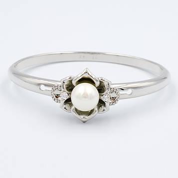 XUPING Браслет Родій з білими цирконами і перлами Ширина 1.2 см, Діаметр 5.9 см Дві секції