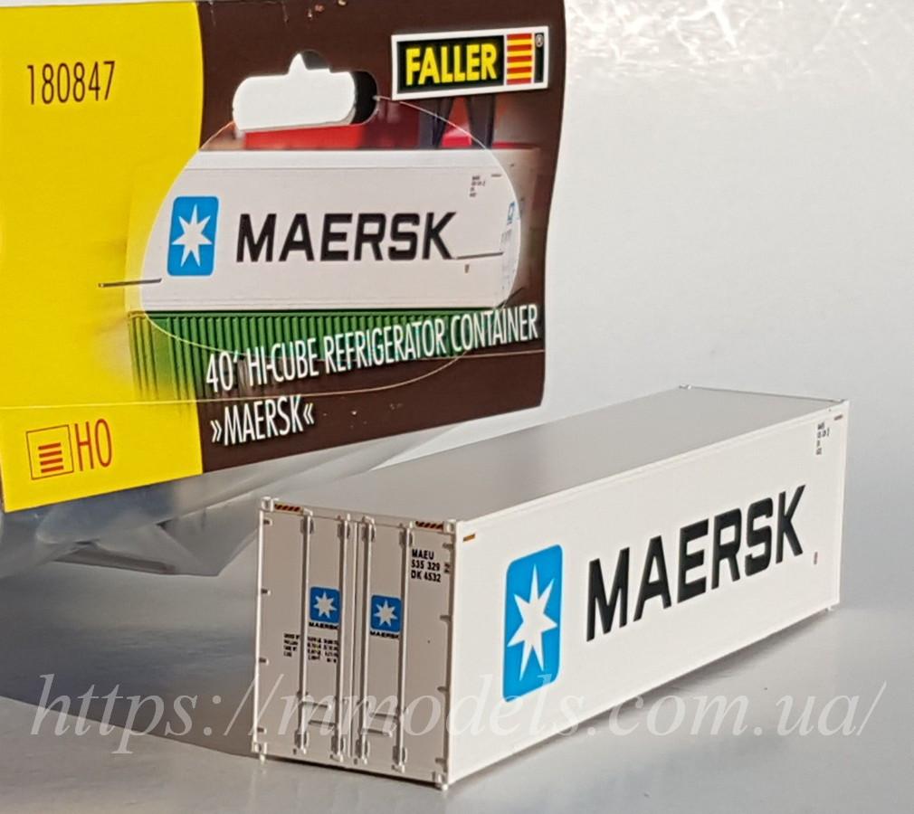 "Faller 180847 Масштабна модель контейнера рефрежиратора 40 футовий ""MAERSK"", масштабу 1/87"