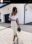 Юбка карандаш и топ свободный в белом цвете - летний костюм женский (р. S, M) 16101783, фото 4