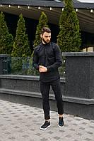 Мужской комплект черная рубашка+брюки черные в клетку
