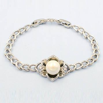 XUPING Браслет Родій з перлами і білими цирконами Довжина 17.5+1.5 см Ширина 2см