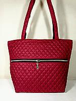 Сумка-шопер  стеганая с карманом женская  темно-красная