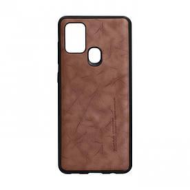Чехол для SAMSUNG A21s коричневый Leael Color /  Чехол для САМСУНГ a21s