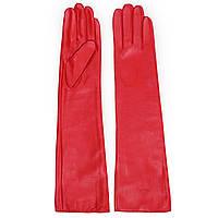 Женские перчатки Chanel (кожаные, красные, зимние, на флисе, длинные)